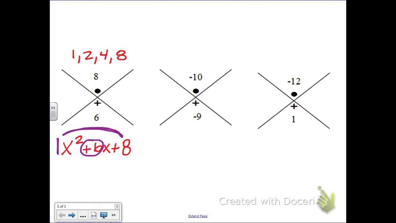 Common Core Math: Factoring Trinomials, X-Factor Chart - YouTube