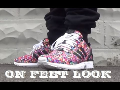 new style 383ca 2c653 adidas Originals ZX Flux Prism Multi-Color Photo Pack Shoe Review + On Feet  With Dj Delz