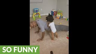 Baby fitness coach makes sure dad does his push-ups properly!