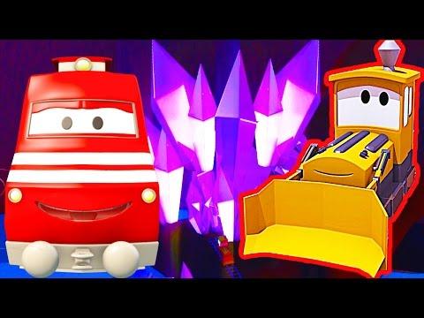 Troy lokomotywa i Uwięziony w Tunelu w Miasto Samochodów | Samochody bajka o maszynach dla dzieci