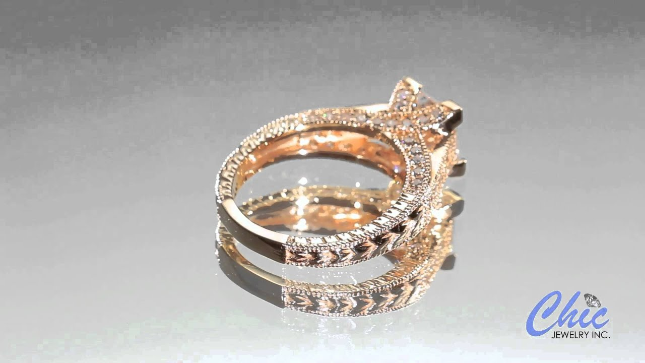 Antique style engagement ring with princess cut cz in rose gold