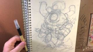 How to draw a mech: morning time lapse version