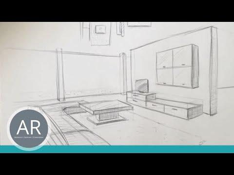 zeichnen lernen akademie ruhr tutorials raum in 3 punkt perspektive by akademieruhr. Black Bedroom Furniture Sets. Home Design Ideas