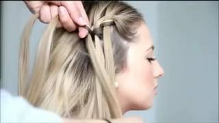Плетение косы водопад   видео инструкция Waterfall Braid