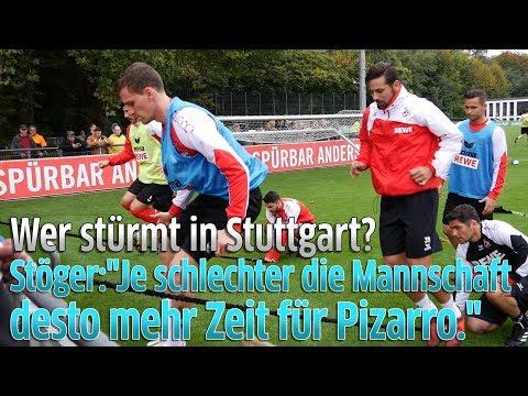 1. FC Köln gegen VfB Stuttgart: Trainer Peter Stöger zu Claudio Pizarro und Simon Zoller