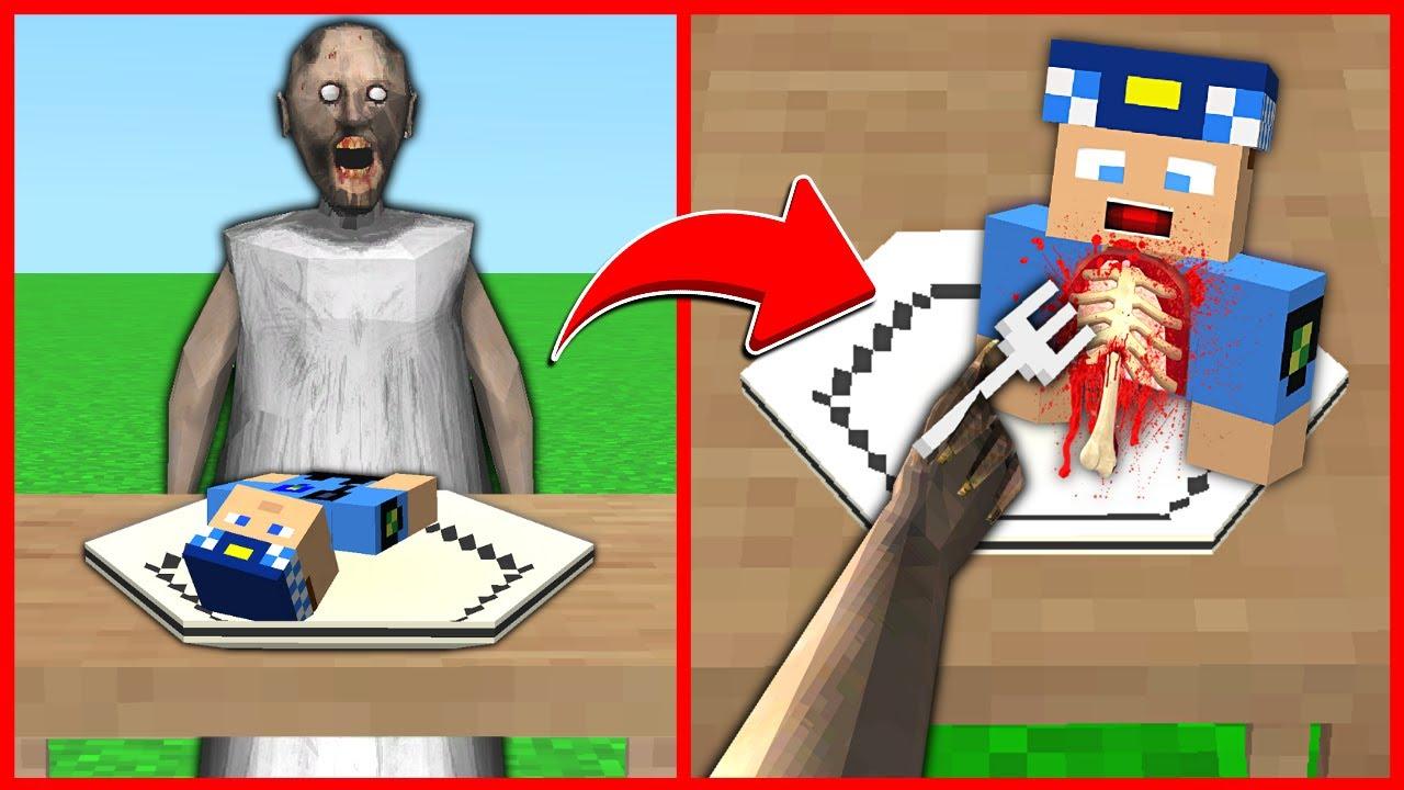 GRANNY AKŞAM YEMEĞİNDE KEREM KOMİSERİ YİYOR! 😱 - Minecraft