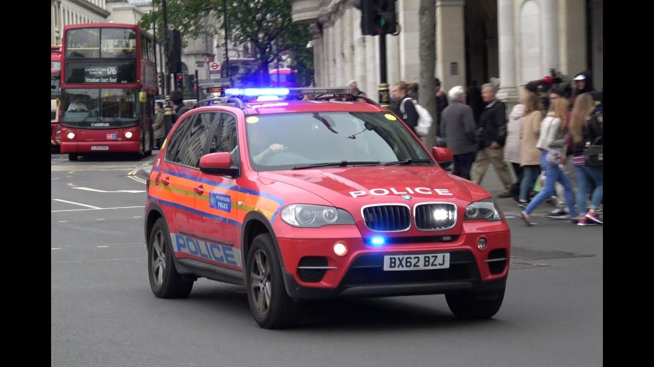London Red Police Car Responding