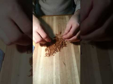 How to hand cut whole leaf tobacco for pipe smoking