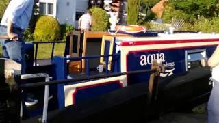 Canal Narrow Boat Barge Going Through The Locks. How Do Canal Locks Work? Full Video.