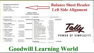 Tally TDL for Print Balance Sheet Address in Left Side  || Tally Add on  Free Download