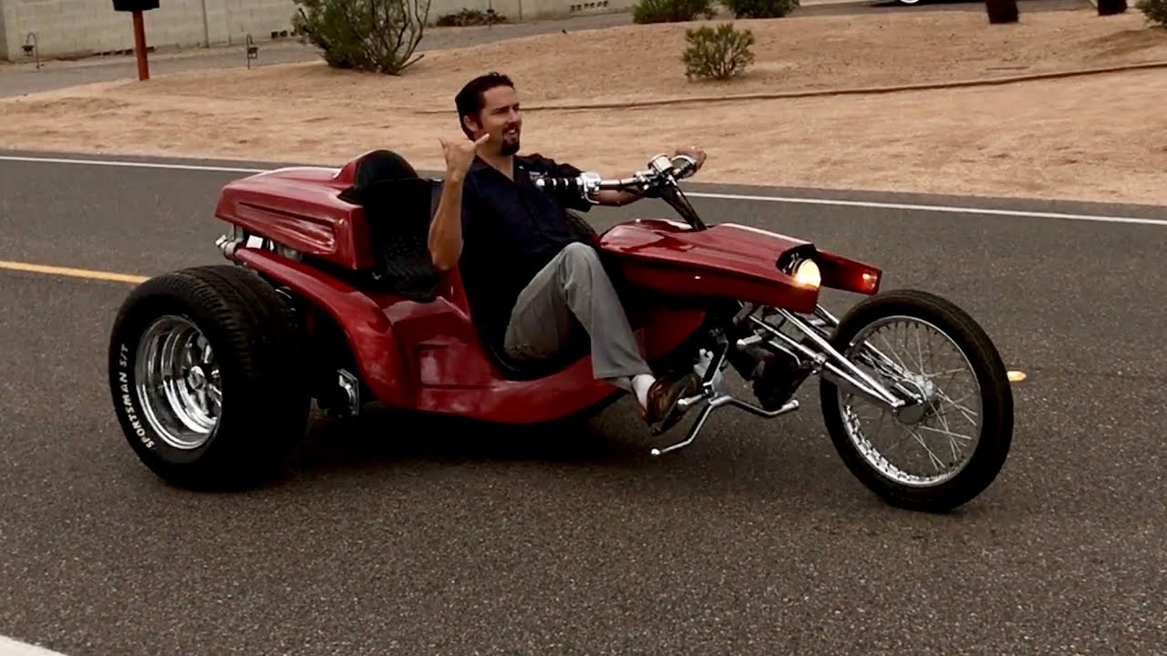 Cody Roth on my 1972 Big Daddy Ed Roth VW Trike - YouTube