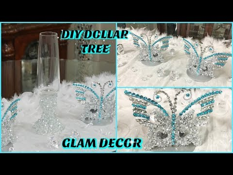 DOLLAR TREE DIY | GLAM ICE & BUTTERFLY CANDLE HOLDERS | DIY GLAM HOME DECOR IDEAS