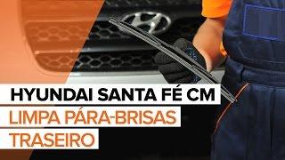 Como e quando mudar Escovas do limpa parabrisas traseiro e dianteiro HYUNDAI SANTA FÉ II (CM): vídeo tutorial