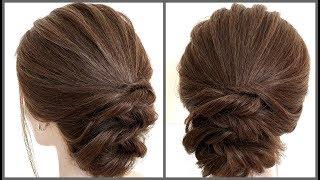Простой объемный пучок для коротких волос.Красивые прически.Simple volume hairstyle for short hair.