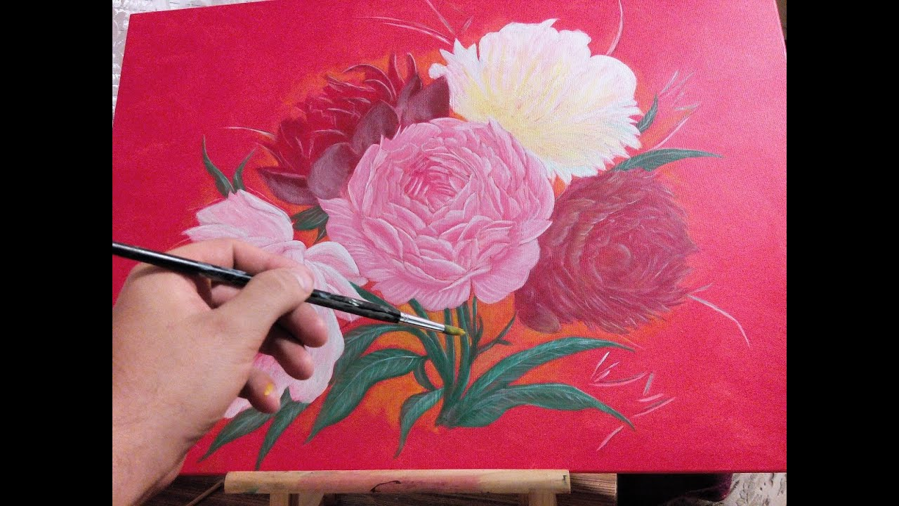 how to paint flowers acrylic painting tutorial youtube