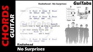 Radiohead - No Surprises ( Lyrics and GuiTar Chords ) 🎸
