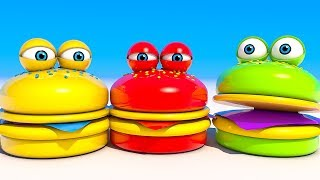 Hamburgers Eat Lollipops and Ice Cream Learn colors for Kids and Children