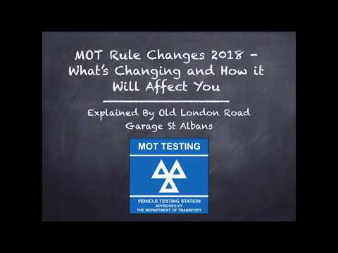 MOT Test Changes in May 2018 Explained by Old London Road Garage St Albans
