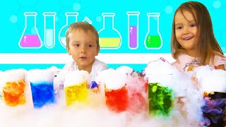 Anna and Sasha doing Dry Ice science experiment for kids | handcraft | life hacks |  playgorainbow