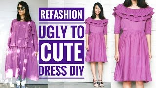 DIY   UGLY DRESS TO A CUTE DRESS REFASHION : HOW TO REFASHION OLD CLOTHES