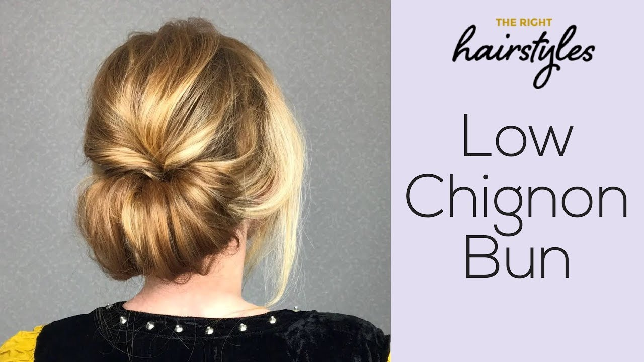 Low Chignon Bun Easy Tutorial By Trhs Youtube