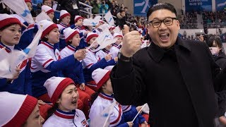 Kim Jong Un waves to North Korean Cheerleaders at the PyeongChang 2018 Winter Olympics Part 1