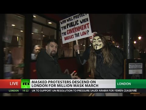 Masked protesters descend on London for Million Mask March