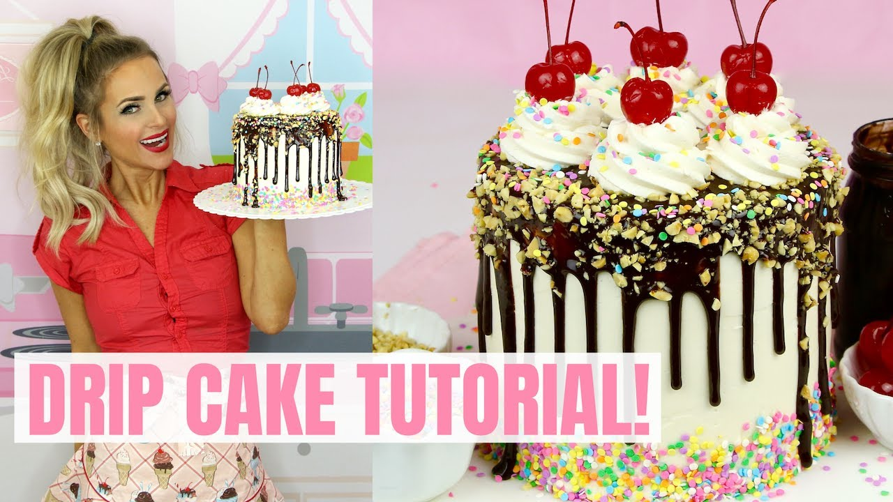 How To Make a Drip Cake (or Cupcakes)   easy 2-ingredient recipe & tutorial) // Lindsay Ann