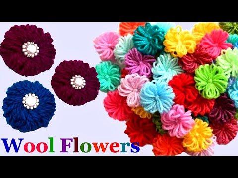 How to make Easy Woolen Flowers step by step   Handmade woolen thread flower making idea - diy