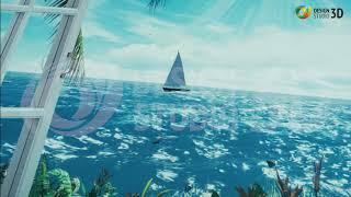 """3D Фотообои """"Вид из окна на море"""""""