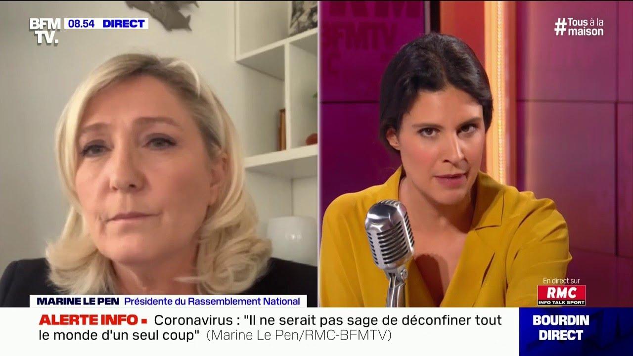 Marine Le Pen présidente du RN, était l'invitée d'Apolline de Malherbe sur RMC et BFMTV -