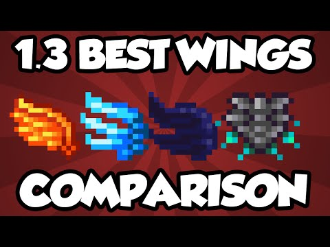 NEW Terraria 1.3 Wings - FULL WING COMPARISON OF NEW WINGS! - Best Terraria Wings Comparison