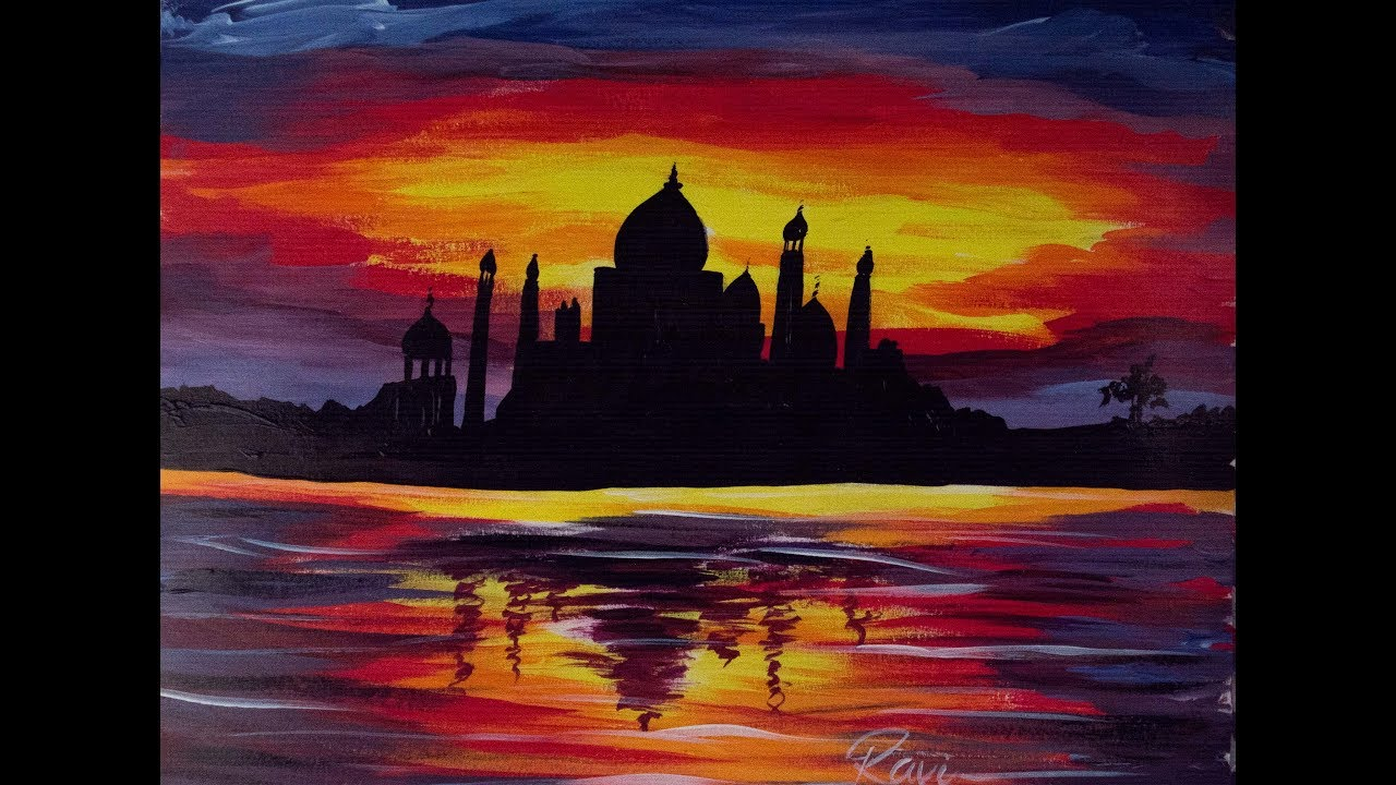 Taj Mahal Acrylic Painting Youtube