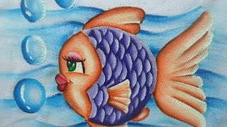 Como pintar peixinha em tecido