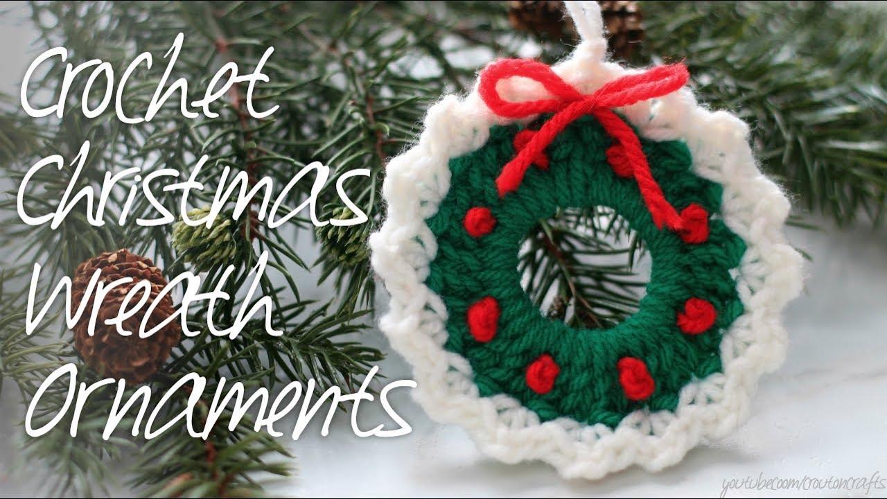 Crochet Christmas Ornaments.Crocheted Wreath Ornaments