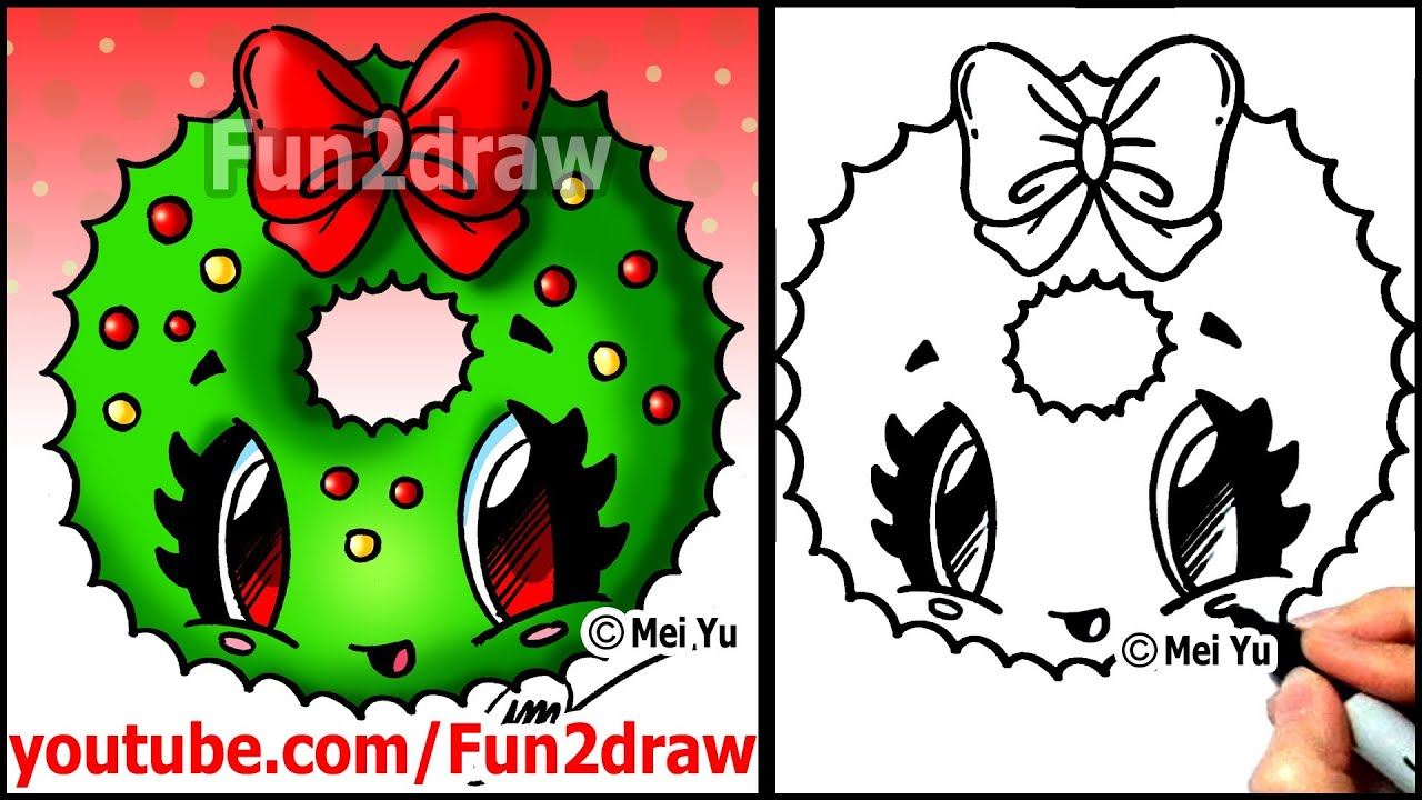 How to Draw a Christmas Wreath with a Bow - Fun2draw Easy Cartoon ...
