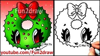 How to Draw a Christmas Wreath with a Bow - Fun2draw Easy Cartoon drawings