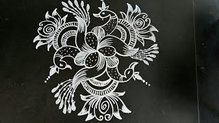 Republic Day special.Easy  peacock rangoli..simple rangoli..5 to 3 dots..daily kolam..chinna muggulu