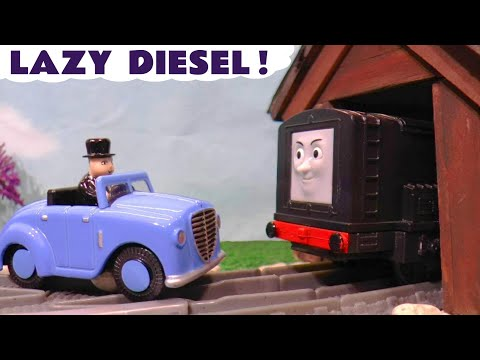 Thomas and Friends Trackmaster Toy Train Story Lazy Diesel with Plarail Hero and funny Funlings