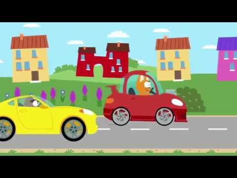 Котенок и волшебный гараж - Гонка с Енотом - YouTube