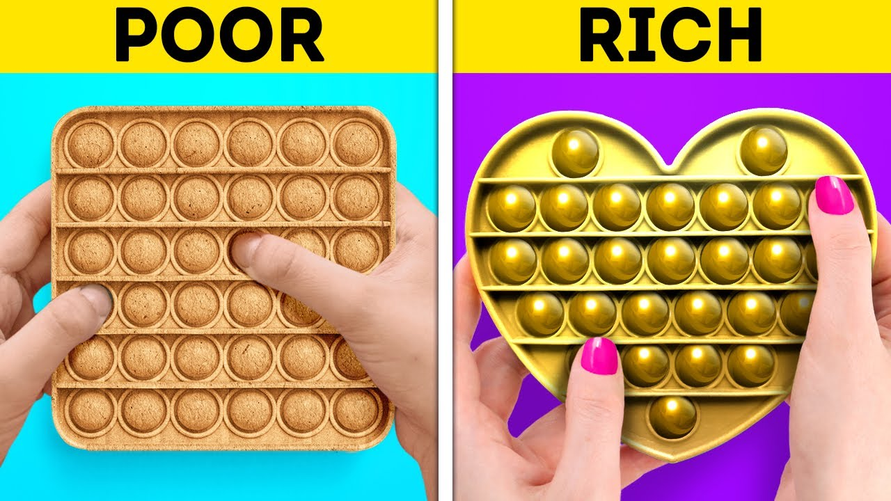 POOR VS. RICH || Cool DIY Crafts For Everyone || Pop It Hacks, DIY Decor Ideas And Clothes