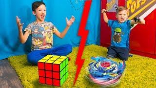 BEYBLADE Против СПИДКУБЕРА! Кто КРУЧЕ БЕЙБЛЭЙД или Кубик Рубика? Для Детей Kids Children