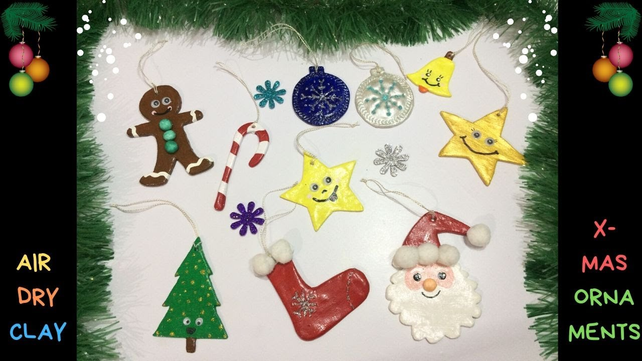 Diy Air Dry Clay Christmas Ornaments Christmas Decorations Air Dry Clay Craft Youtube