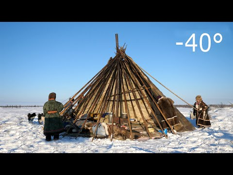 Warmest Tent on Earth - Pitching in the Siberian Arctic Winter - Ненецкая палатка чум - Nomad Architecture