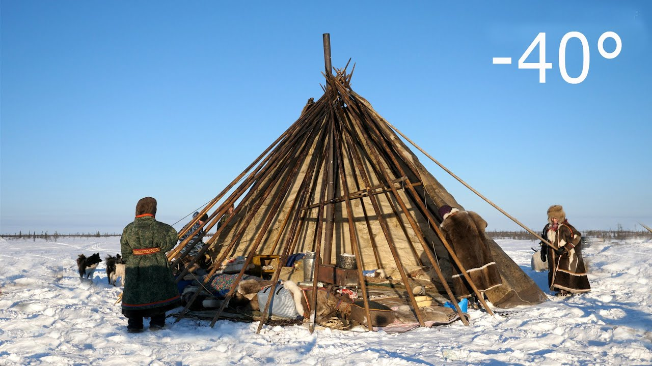 Download Warmest Tent on Earth - Pitching in the Siberian Arctic Winter - Ненецкая палатка чум