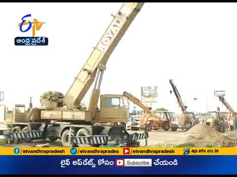 Sulfuric Acid Tanker Hits Electric Pole and Overturns In Guntur District |  Live Update