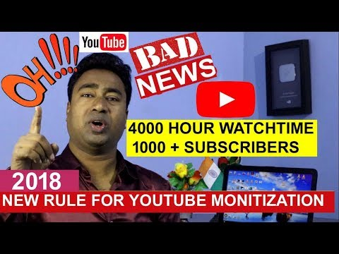 YouTube New Monitization Eligibility 2018 - No Ads till 4000 hours watchtime & 1000 subscribers