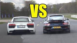 PORSCHE 911 TURBO S vs AUDI R8 V10 PLUS DRAG RACE