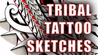 Various tribal tattoo sketches with pencil I Polynesian/Maoristyle tattoodles by Storm3d