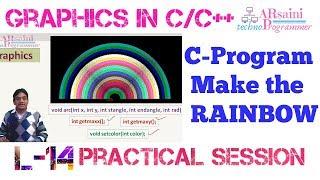 C-Programma te Maken REGENBOOG in graphics || maken | maken Regenboog in c graphics